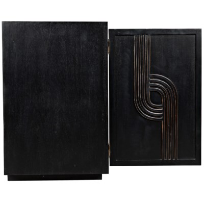 Deco 4 Door Sideboard, Hand Rubbed Black with Gold