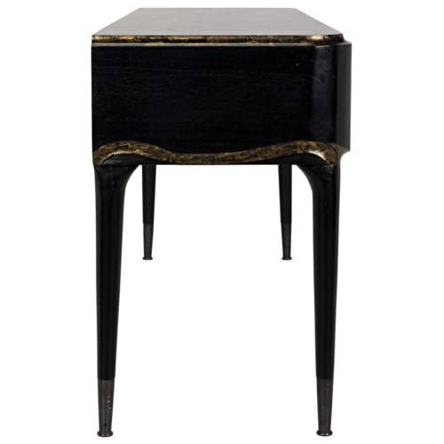 Carlisle Console, Hand Rubbed Black with Gold
