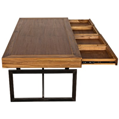 Maxwell Desk Teak w/ Metal Base