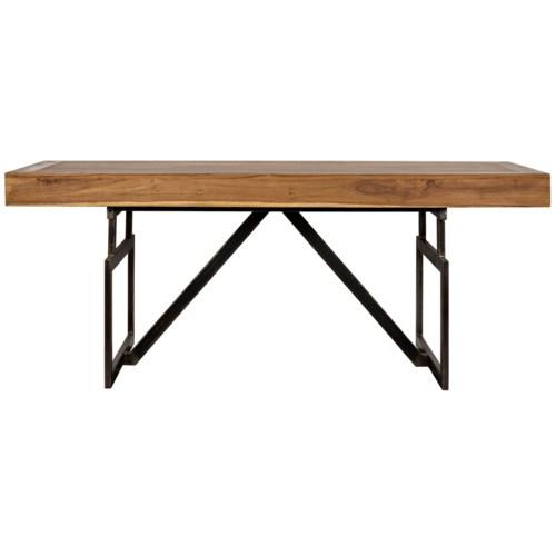 Maxwell Desk Teak w/ Metal Base