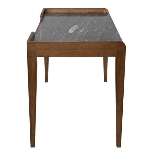 Wod Ward Desk, Dark Walnut with Stone Top