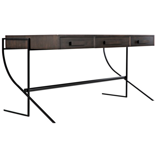 Frank Desk, Ebony Walnut w/Metal