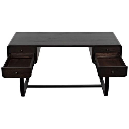 Voltes Desk, Ebony Walnut w/Black Metal