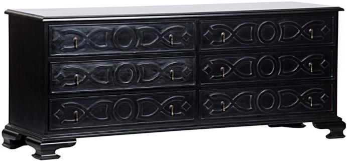 Sofie 6 Drawer Dresser, Hand Rubbed Black