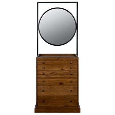 Luna Piena Cabinet with Mirror, Dark Walnut