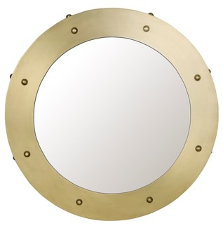 Clay Mirror, Small, Antique Brass
