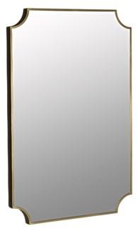 Convexed Mirror, Metal w/Brass Finish