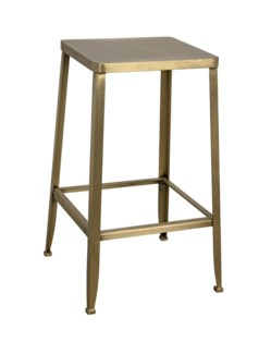 Mauro Counter Stool, Antique Brass
