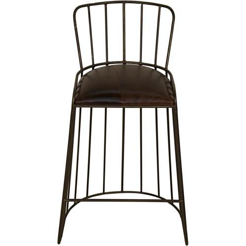 David Bar Stool, Metal and Leather