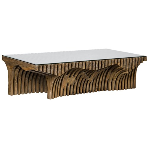 Orpheus Coffee Table, Old Elm and Glass