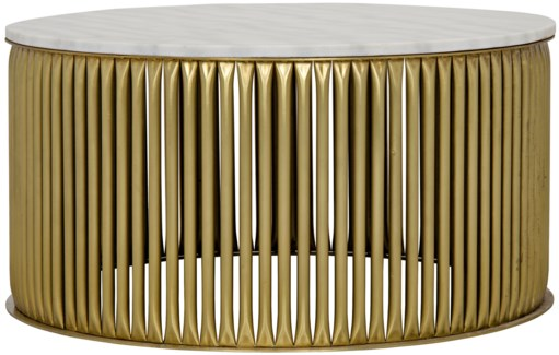 Lenox Coffee Table, Antique Brass, Metal and Stone