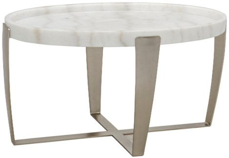 Ennio Coffee Table, Antique Silver, Metal and Stone