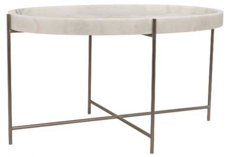 Che Cocktail Table, Antique Silver, Metal and Stone