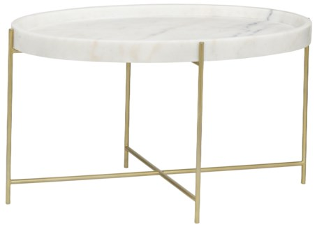 Che Cocktail Table, Antique Brass, Metal and Stone