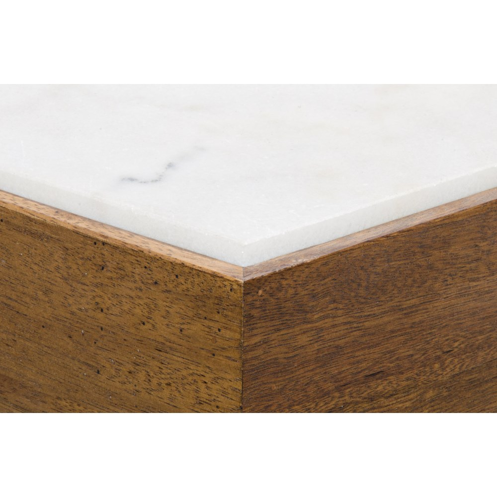 Amsterdam Coffee Table, Dark Walnut, Walnut and White Marble