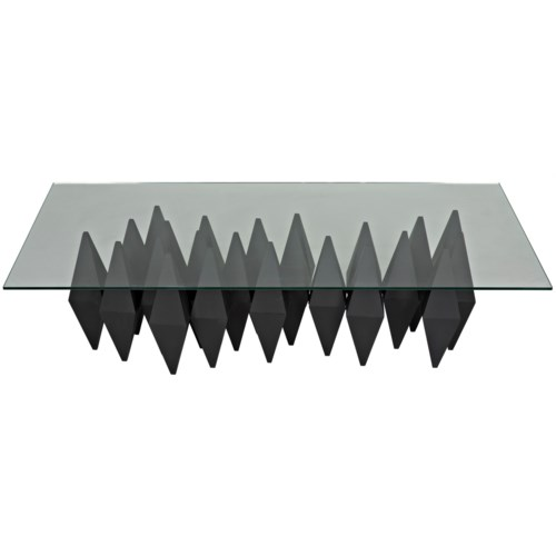 Bast Metal Coffee Table with Glass Top, Black Metal