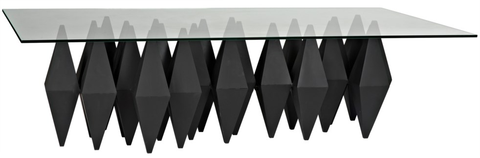 Bast Metal Coffee Table with Glass Top