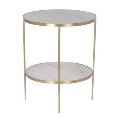 Rivoli Side Table, Antique Brass, Metal and Quartz