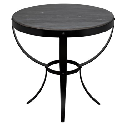 Byron Side Table, Metal with Marble