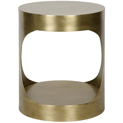 QS Eclipse Round Side Table, Antique Brass