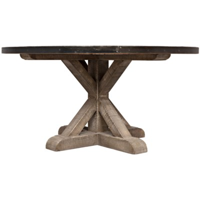 Zinc Rd Table with X Base Vintage
