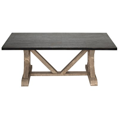 X Base Table with Zinc Top Vintag