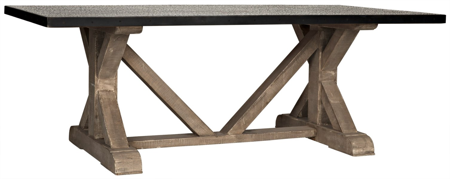 QS X Base Table with Hammered Zinc