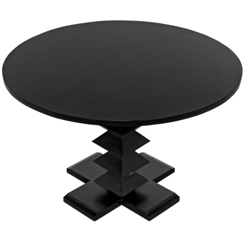 "Zig-Zag Base Dining Table, 48"", Hand Rubbed Black"