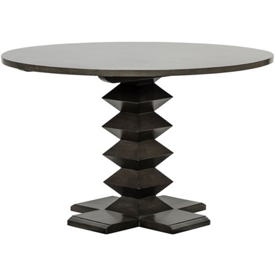 "Zig-Zag Base Dining Table, 48"", Pale"