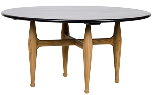 Z Brooke Dining Table, Teak Base w/Hb Top