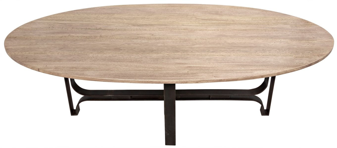 Adrien Oval Table, Washed Walnut, Walnut and Metal