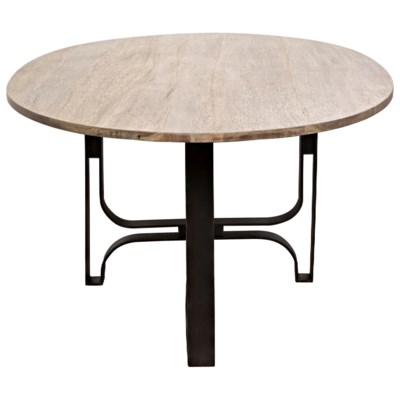 Adrien Oval Table, Washed Walnut, Walnut and Metal