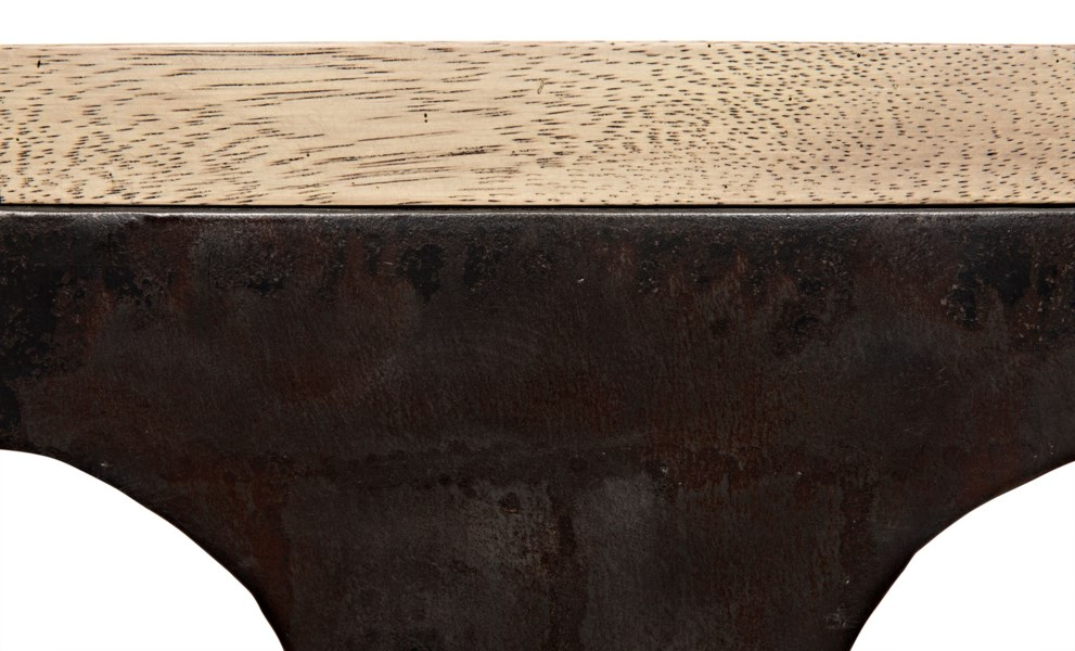 Z Rodolfo Table, Washed Walnut, Walnut and Metal
