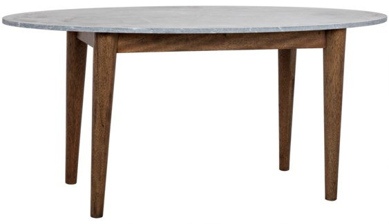 Surf Oval Dining Table with Stone Top, Dark Walnut
