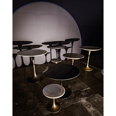 "Laredo Table 36"", Aged Brass, White Marble Top"