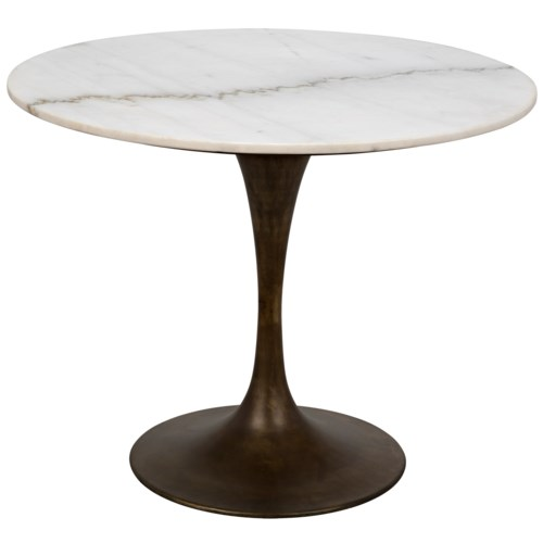 "Laredo Table 36"", Aged Brass, White Stone Top"
