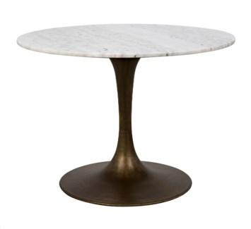 "Laredo Table 40"", Aged Brass, White Stone Top"