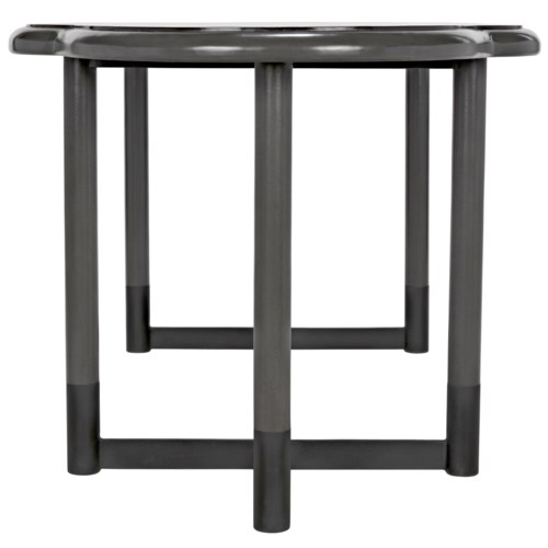 Charles Dining Table, Pale Finish w/Metal Base