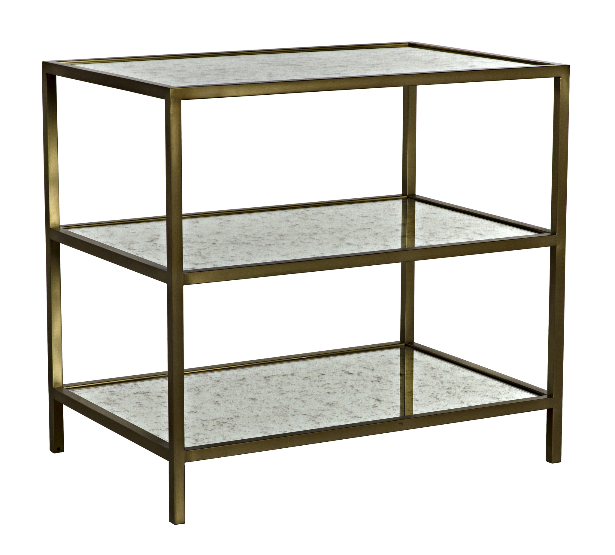 antique brass side table 3 Tier Side Table, Antique Brass, Metal and Antique Mirror  antique brass side table