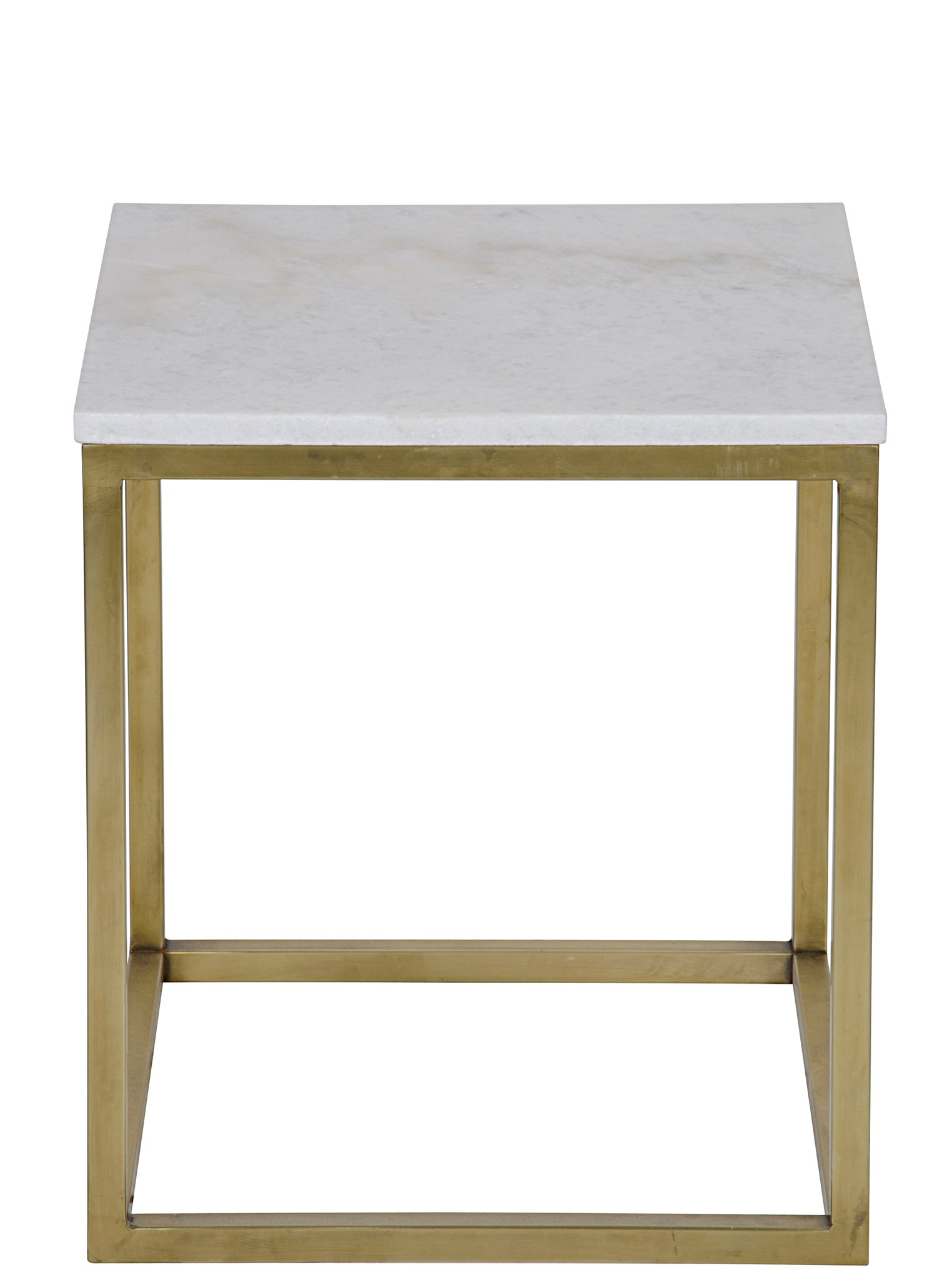 Manning Side Table, Small, Antique Brass, Metal And Quartz