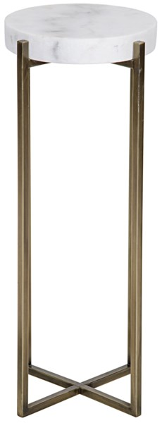 Soho Side Table, Antique Brass, Metal and Quartz