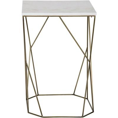 Bast Side Table, B, Antique Brass, Metal and Quartz