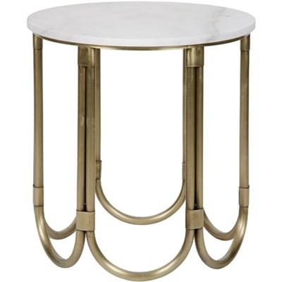 Davina Side Table, Antique Brass, Metal and Quartz