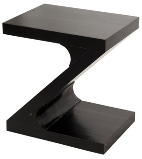 Z Z Side Table, Hand Rubbed Black