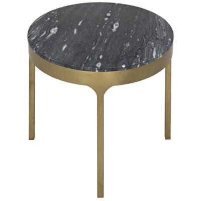 Carol Side Table W/Black Stone, Antique Brass