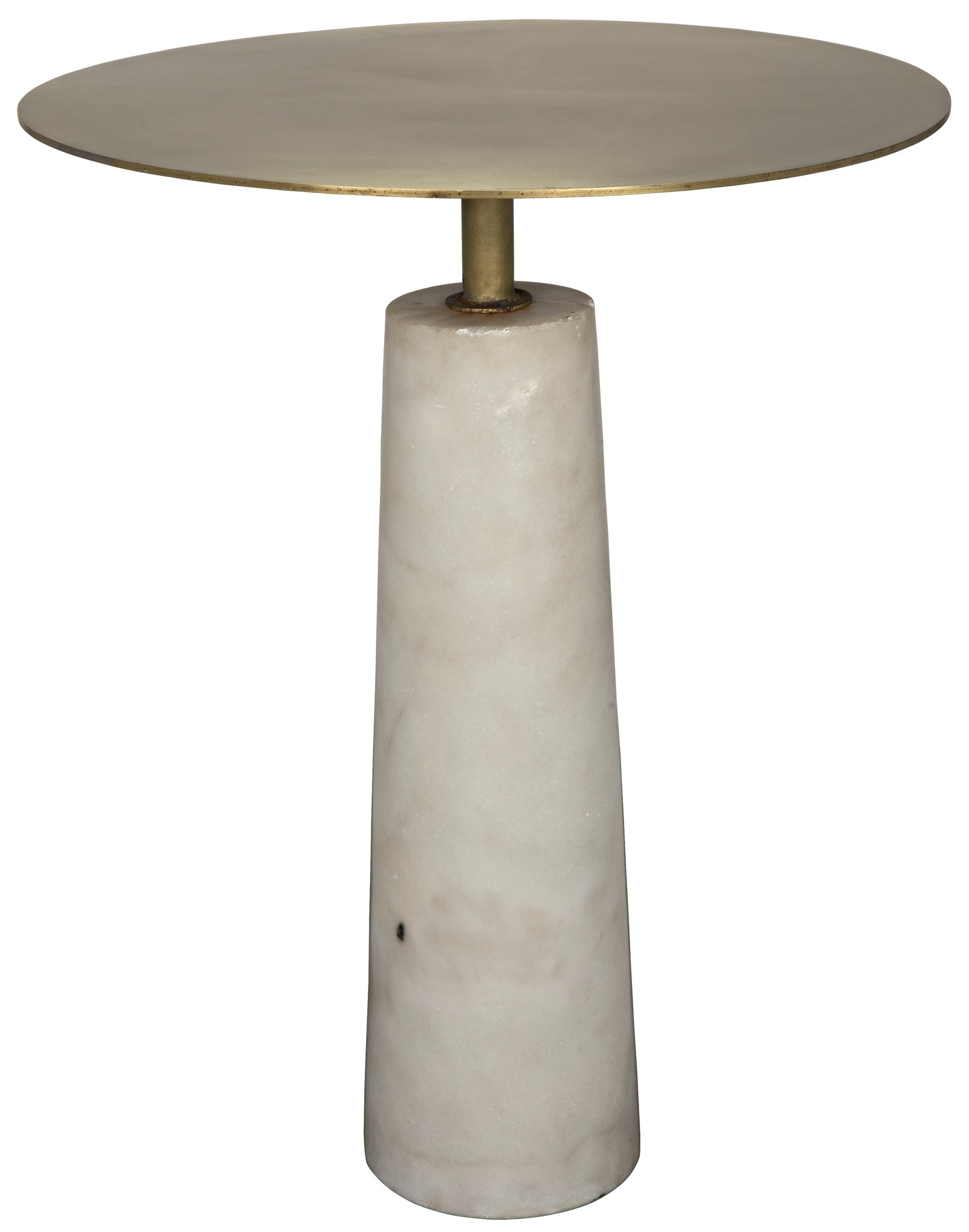 Delicieux Hotaru Side Table, White Marble And Antique Brass