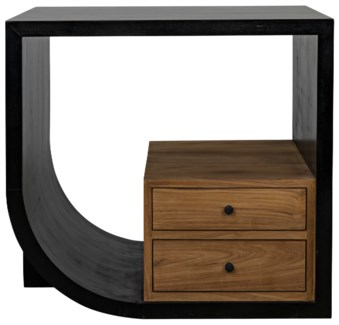 Burton Side Table, Left, Hand Rubbed Black and Teak