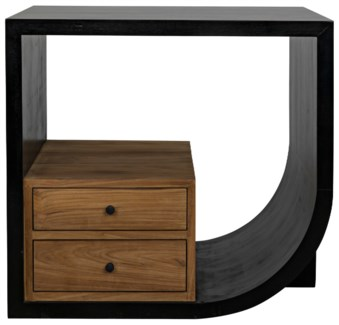 Burton Side Table, Right, Hand Rubbed Black and Teak