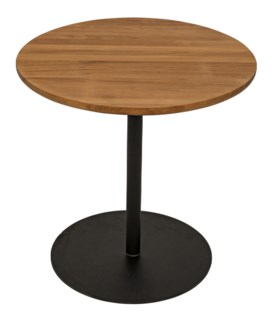 Ford Small Side Table, Gold Teak with Metal Base
