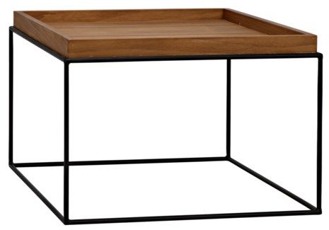 SL02 Side Table, Metal Base with Gold Teak Top